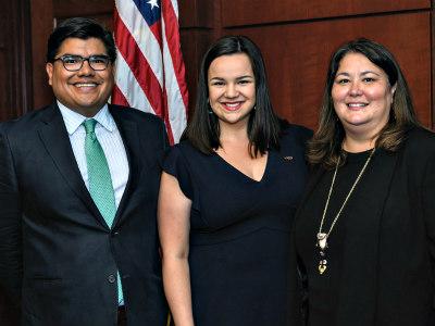 Deputy Assistant Secretary for Policy and Economic Development Mark Cruz, Julie Combs and Assistant Secretary-Indian Affairs Tara Sweeney